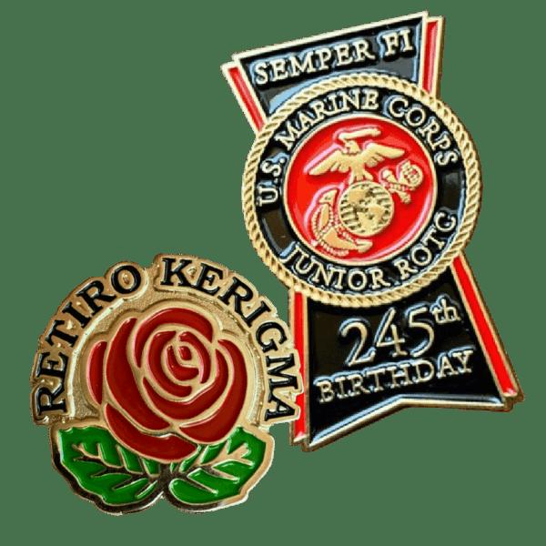 retiro kerigma & marine corps custom soft enamel pins